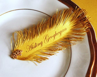 Great Gatsby style Gold Feather's Wedding place card's