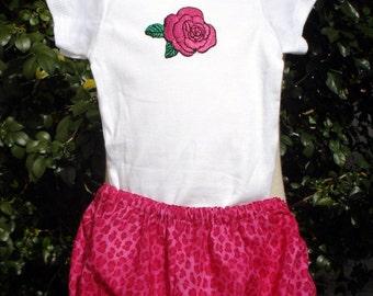 Rose Onesie with Leopard Print Bloomer Matching Set - Newborn