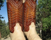 reserved for horse lover PJ Cowboy boots, mens cowboy boots, womens cowboy boots, vintage two tone tan, women's 8 1/2 med, Mens 7 1/2 D