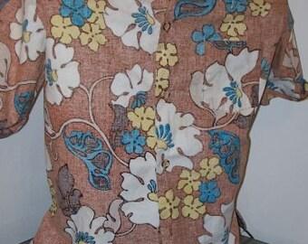 Vintage  Jantzen Hawaiian Large Mens Shirt Sports Wear Made in USA