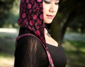 LAST ONE: The Fuschia Red/Black Brocade Underbust Vest/Harness w/Detachable Hood by Opal Moon Designs (Black Lining) Size XL