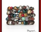 Boho Memory Wire Bracelet / Slinky Cuff / Earth Colors / Tribal Ethnic / Gypsy Boho Bohemian / Red Brown Aqua Teal Silver / ON SALE!