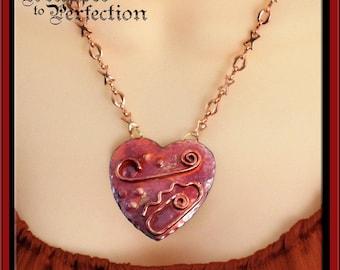 Copper Heart Pendant on Copper XOXO Chain Valentine Love Heart Necklace Patricia Healey