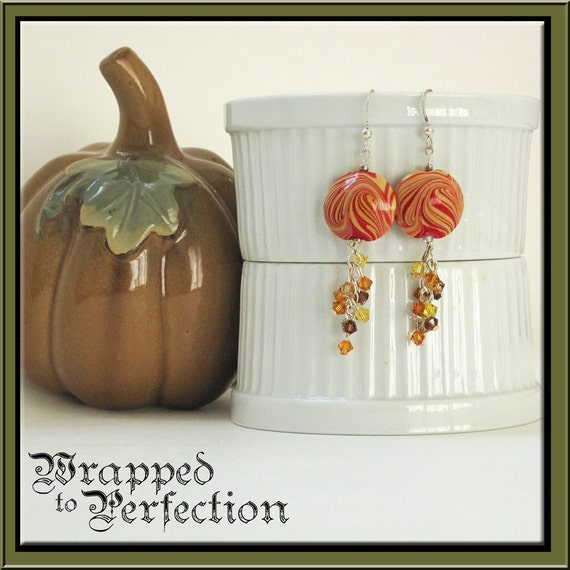 Orange & Gold Swirl Earrings, Swarovski Crystal, Lampwork Beads, ON SALE!