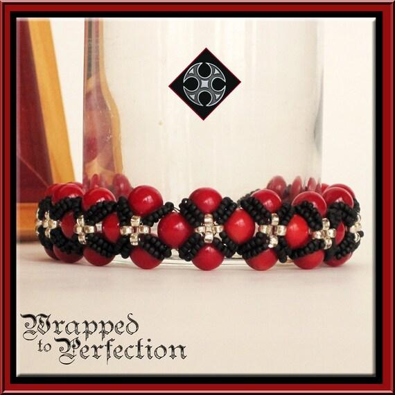 House Targaryen Inspired Red, Black & SilverBracelet / Hand-Woven Beaded Cuff Bracelet / Game of Thrones Renaissance Medieval Tudor Cross