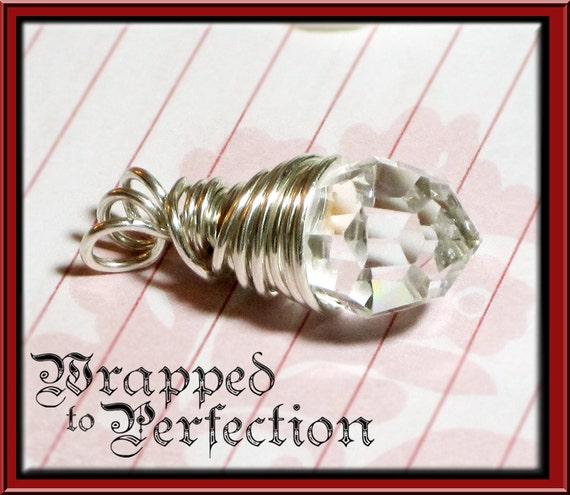 Venetian Crystal Pendant / Sterling Silver Wire Wrapped Briolette / Modern Teardrop / Statement Jewelry / WEDDING BRIDE / SALE!