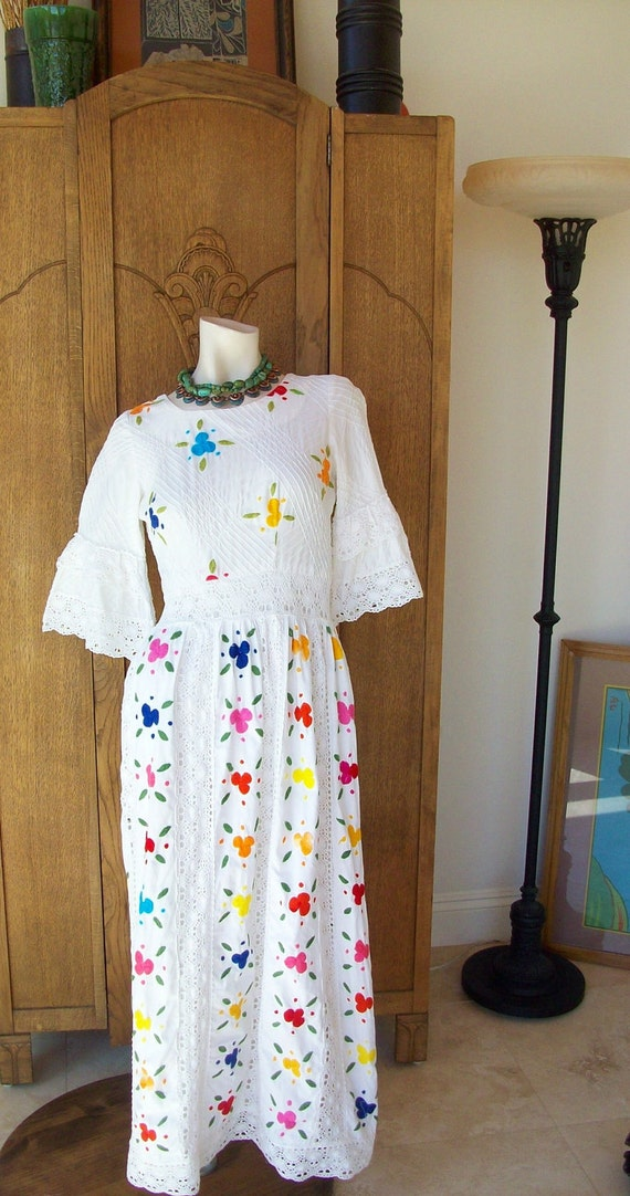 Vintage 1970's Mexican Wedding Dress Embroidered Flowers