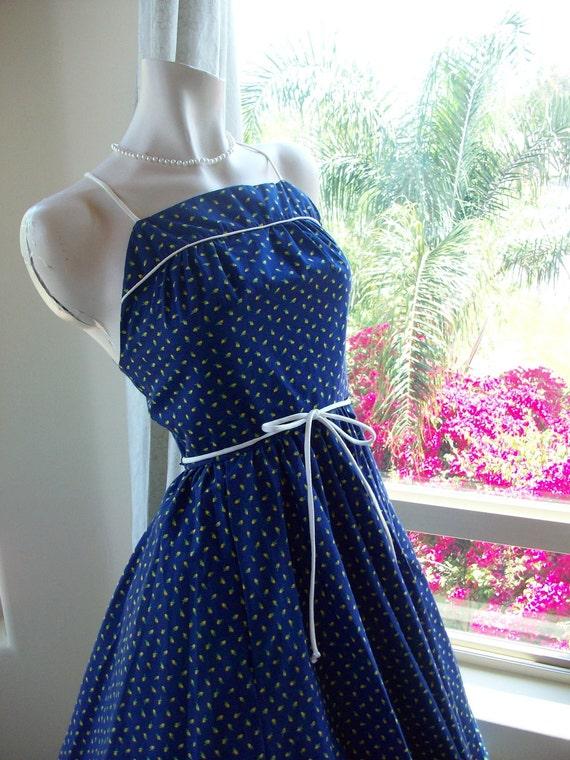 Reserved Vintage Rockabilly Dress, 1970's Swing Dress ,Gunne Sax Style Flower Summer Dress