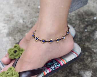 Blue Jade Daisy Brass Braided Anklet