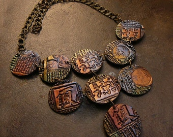 Antiquated Asian polymer clay necklace