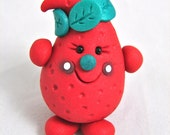 Red STRAWBERRY PARKER Figurine - Polymer Clay Character Miniature Totem