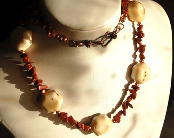 Goldstone Honeycomb Coral Necklace