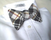 Tartan Bow Tie in White, Black, Red and Yellow.