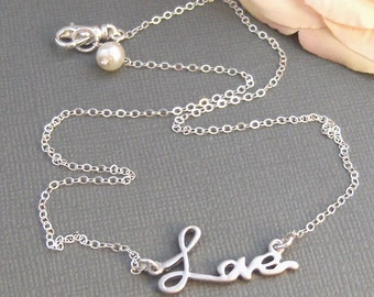 Love Necklace,Sterling Silver,Silver Branch,Silver Bracelet,Love,Family,Bride,Wedding. Handmade jewelry by valleygirldesigns on Etsy.