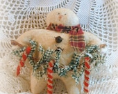 Candy Cane Lane Snowman ~~ Christmas In July ~~ Primitive Ornament ~~ Primitive Christmas ~~ Primitive Home Decor ~~ FAAP ~~OFG Team