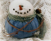 Primitive Big Blue Jeans Boy Snowbaby Ornie ~~Christmas In July ~~ Primitive Christmas ~~ Primitive Home Decor ~~ FAAP ~~ OFG Team
