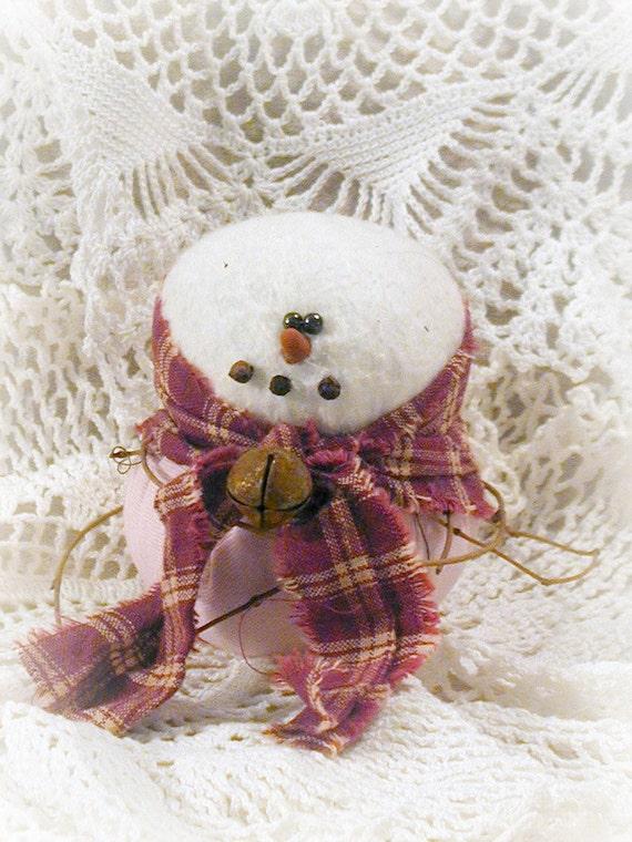 Primitive Pink Jeans Snow Girl Ornament~~ Primitive Christmas ~~Primitive Home Decor ~~ FAAP ~~OFG Team ~~ HDM ~~ Winter ~~ Yule