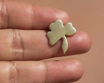 Clover Brass 3 Leaf Blank for Metalworking Charms Soldering Stamping Jewelry Making Texturing - 4 pieces