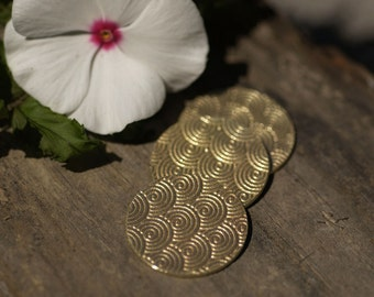 Brass Blank 25mm Disc Spiral Water Polished Textured Blanks Shape