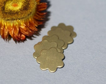 Brass 7 Petal Flowers Blank Cutout for Metalworking Stamping Texturing Soldering Blanks - 5 pieces