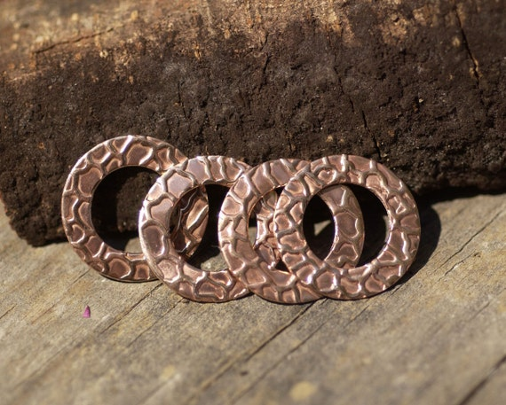 Copper 20mm Donut Washer with Snakeskin Pattern for Enameling Metalworking Blanks, Jewelry Supplies - 4 Pieces