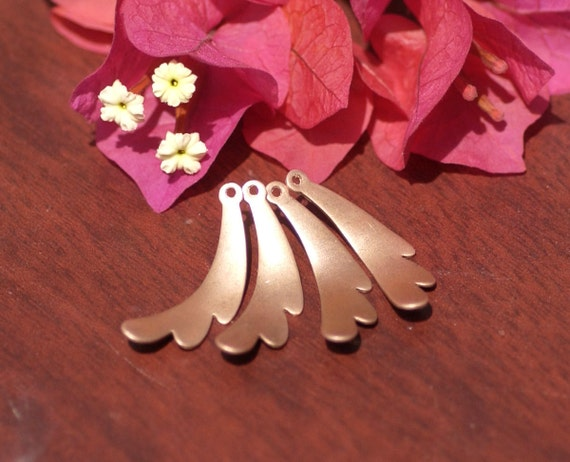 Copper Curved Leaf 22g 34 x 11mm Blank Cutout with hole for Enameling Stamping Texturing