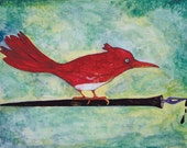 Bird on a Pen Cards-Package of Six With Envelopes