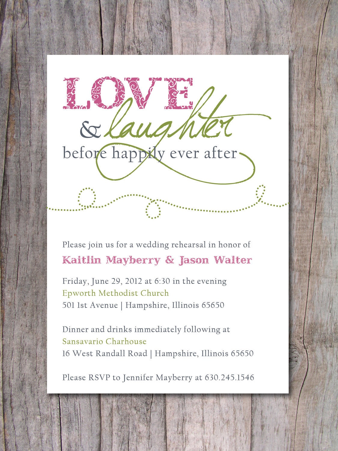 rehearsal dinner invitation happily ever after by pinchofspice