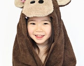 PERSONALIZED Girl Monkey Hooded Towel