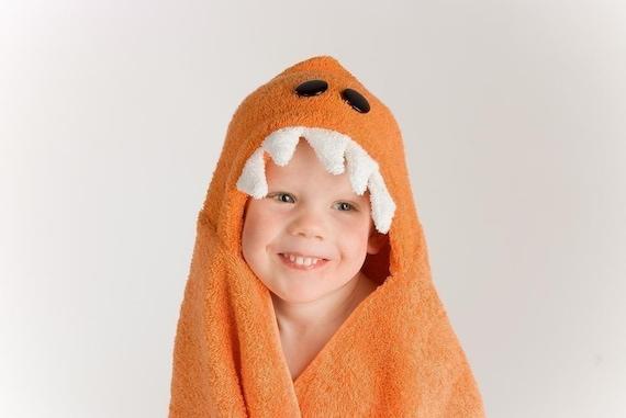Orange Dinosaur Hooded Towel