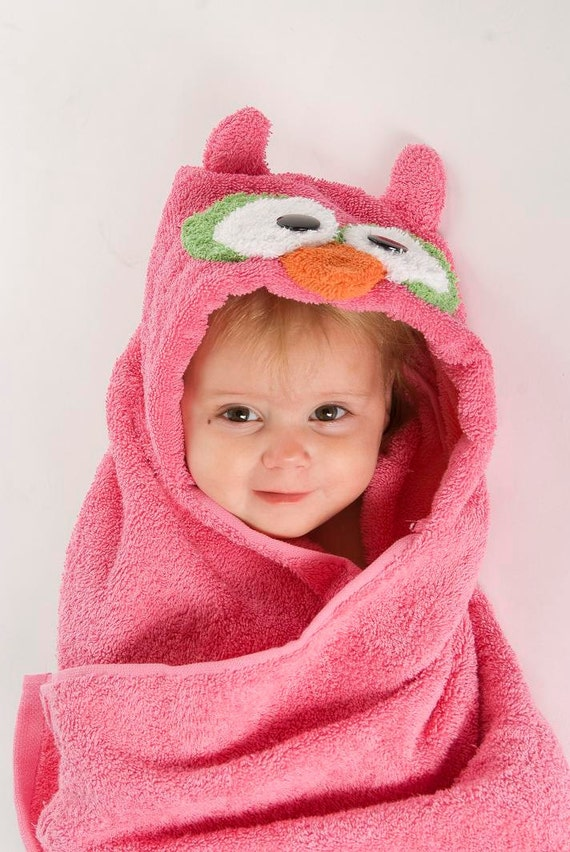 PERSONALIZED Pink Owl Hooded Towel