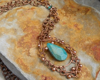 Copper  Filigree With Turquoise on Handcrafted Beaded Chain
