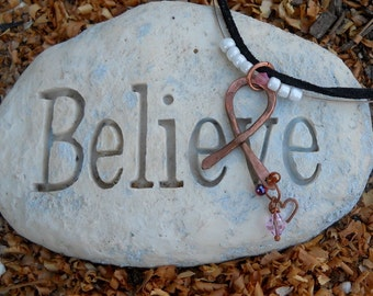 Hand Forged Copper Ribbon - BC Awareness PINK