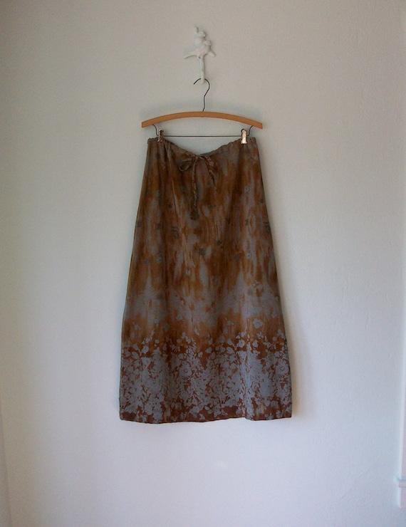 RESERVED 90's Batik Skirt ... Long Maxi Forest Nymph Watercolor ... Medium