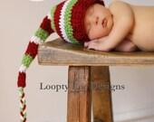 Crochet Hat, Infant Christmas Hat, Newborn Photo Prop, Stocking Hat, Elf Hat, Baby Boy, Baby Girl -Sizes NEWBORN to 12 MONTHS