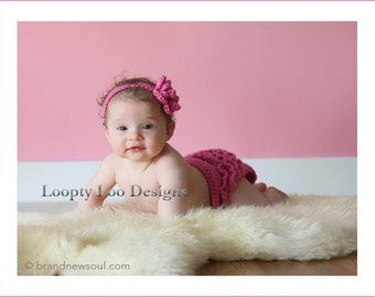 Ruffled Crochet Diaper Cover and CrochetbHeadband, Newborn Photo Prop, Baby Girl - Sizes NEWBORN TO 12 MONTHS  -more color options