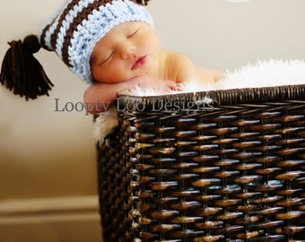 Newborn Photo Prop, Crochet Hat, Jester Hat w/ Tassels, Handmade, Baby Boy, Baby Girl - Sizes NEWBORN To 12 MONTHS - more color options