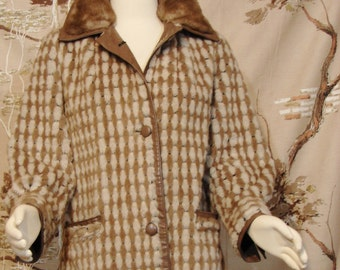 Jacket - Lilli Ann - Faux Fur - Real Leather - circa 1960's