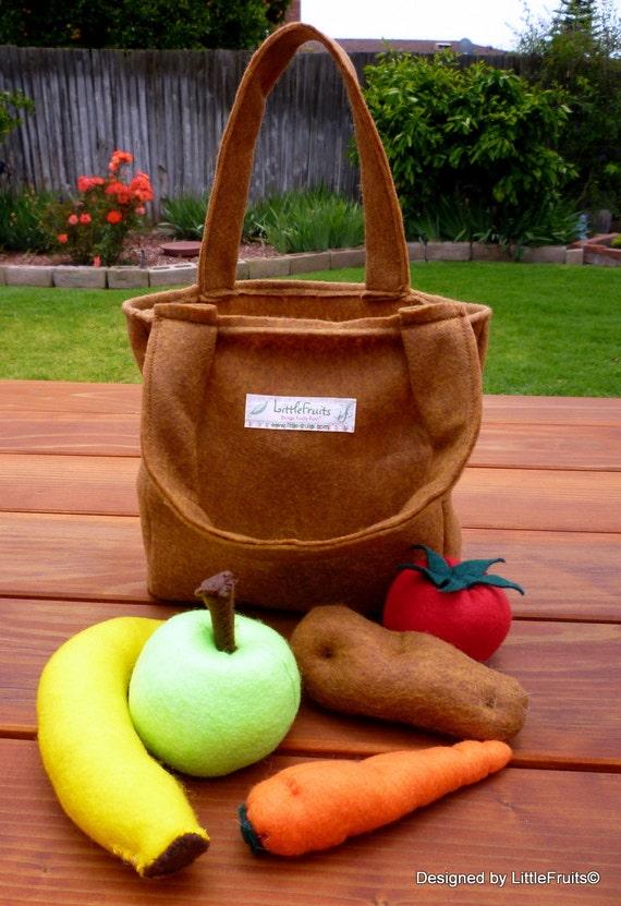 Felt Tote Bag - Pretend Felt Paper Grocery Bag for Kids - Children's Felt Reusable Shopping Bag - Eco Friendly Shopping Tote for kids