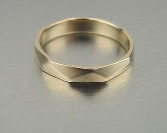 Wedding band, 14k Yellow Gold,  unisex ring, polished texture