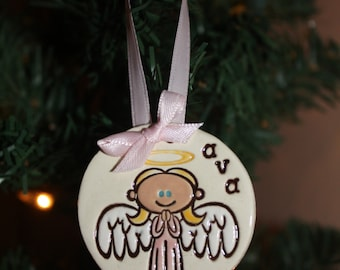 Personalized Christmas Angel Ornament--Made to Order