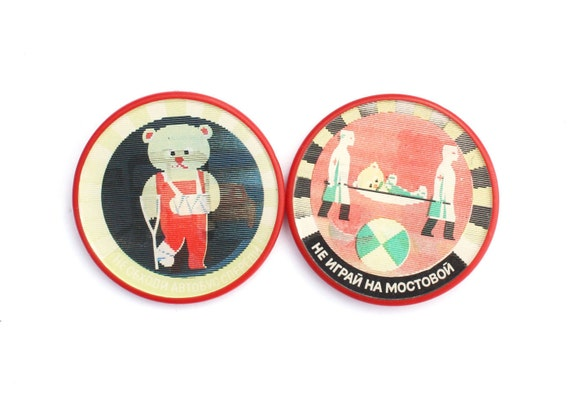 two-dimensional pins. set of two red pins, badges from Russia Soviet Union