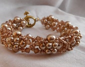 Golden Champagne Topaz Pearls and Crystals Bracelet
