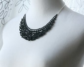 Black Lace Necklace - Sarane - Lace Collar Necklace - Black Statement Jewelry