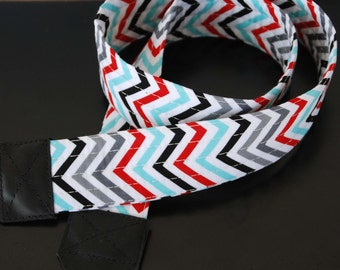 Celebration Chevron SLR Camera Strap with Leather Ends - Free Shipping