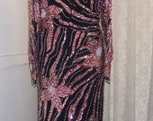 Stunning Vintage Beaded and Sequined Silk Gown