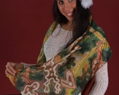Christmas silks scarf/ wall hanging with ginger breads and evergreen branches motifs. Christmas gift painted on silk by SingingScarves