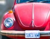 1970s Volkswagen Beetle Photograph/ Hipster / mid century modern car print/ Red WV Bug/ Red Volkswagen Car