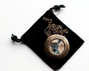 Deer Locket, Art Locket, Deer Necklace, Fairy Tale Locket, Photo Locket, Keepsake for Girls