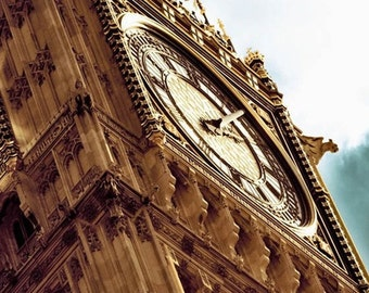 London Photography, Big Ben, Gold, Brown, Neutral, Travel Photography, Office Decor, Big Ben Clock Photo
